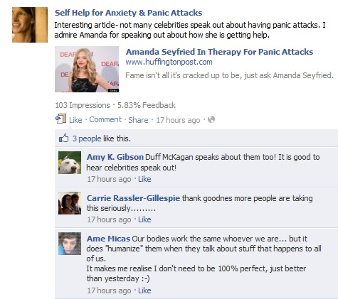 Discussion about Amanda Seyfried and celebrities with panic attacks